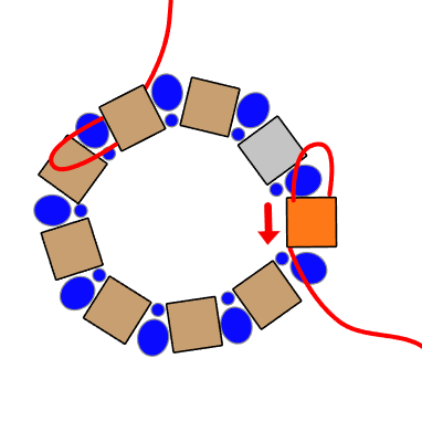 step 6 - Remove the stop bead from the other end of thread and add a needle. Pass through the inside holes of the last square bead represented in orange.