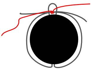 """step 5 - Add a yard of thread to a beading needle leaving a 8"""" tail. Wrap the thread around the top center of the circular wire several times to hold it in place as you get started. You will be attaching the beaded wires to the circular wires using the thread."""