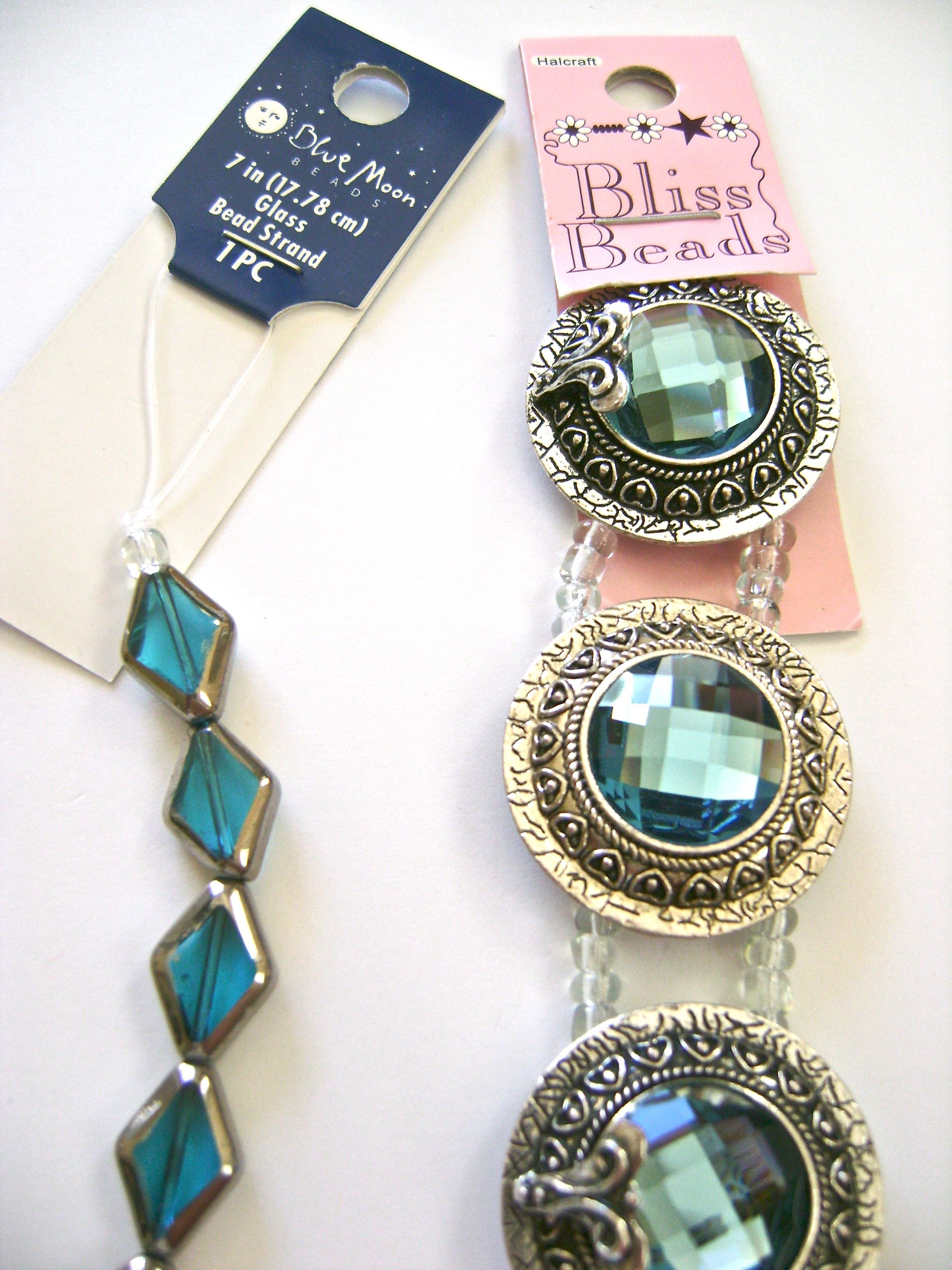 """Blue Moon and Bliss Beads - The Focal Bliss Bead measures approximately 1.25"""". Diamond shape beads measure .50""""."""