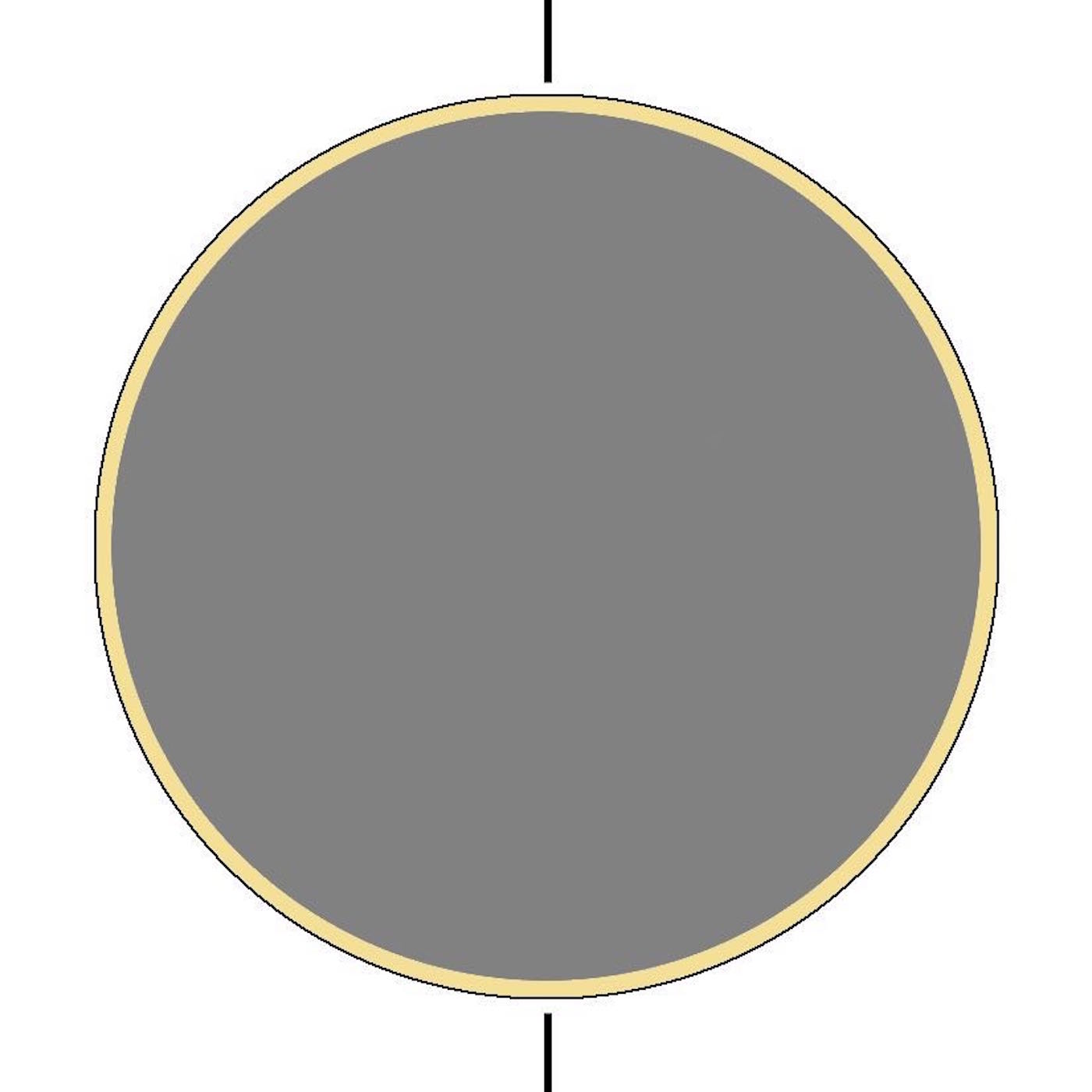 """step 3 - Trim the grey moon circle piece so it is 1/8"""" smaller around than the stencil opening. Center it inside the moon opening. With Blonde Ambition paint, spray between the grey piece and the stencil edges to create a solid circular yellow line."""