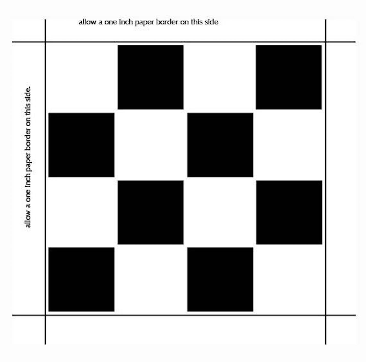 step 1 - Print out 4 copies of the checkerboard template on card stock. The template represents one quarter of the finished board.