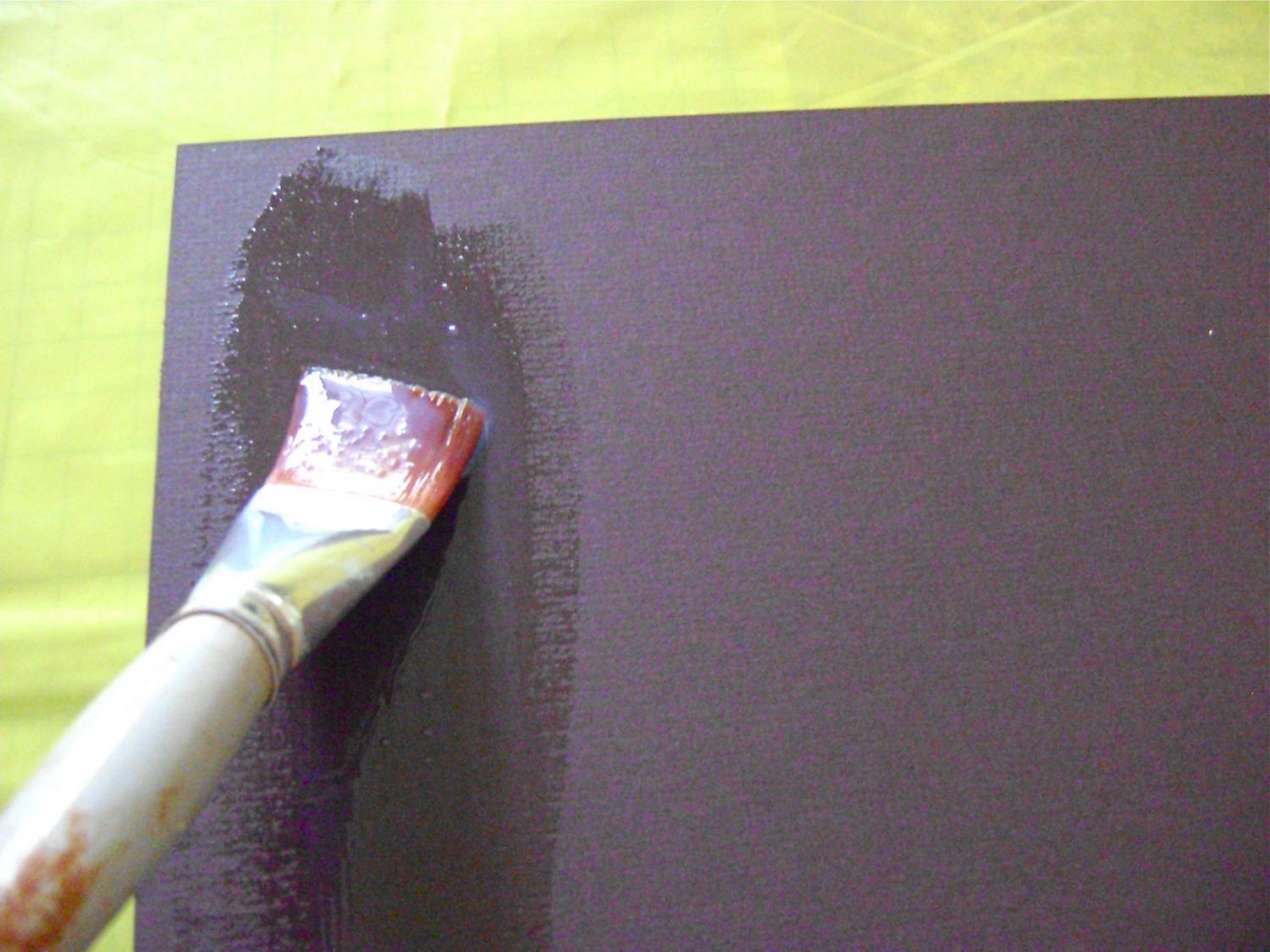 """step 16 - Pour some Diamond Glaze in a small bowl. With a 1"""" wide soft brush apply a generous amount of the glaze to the wrong side of the mat board."""