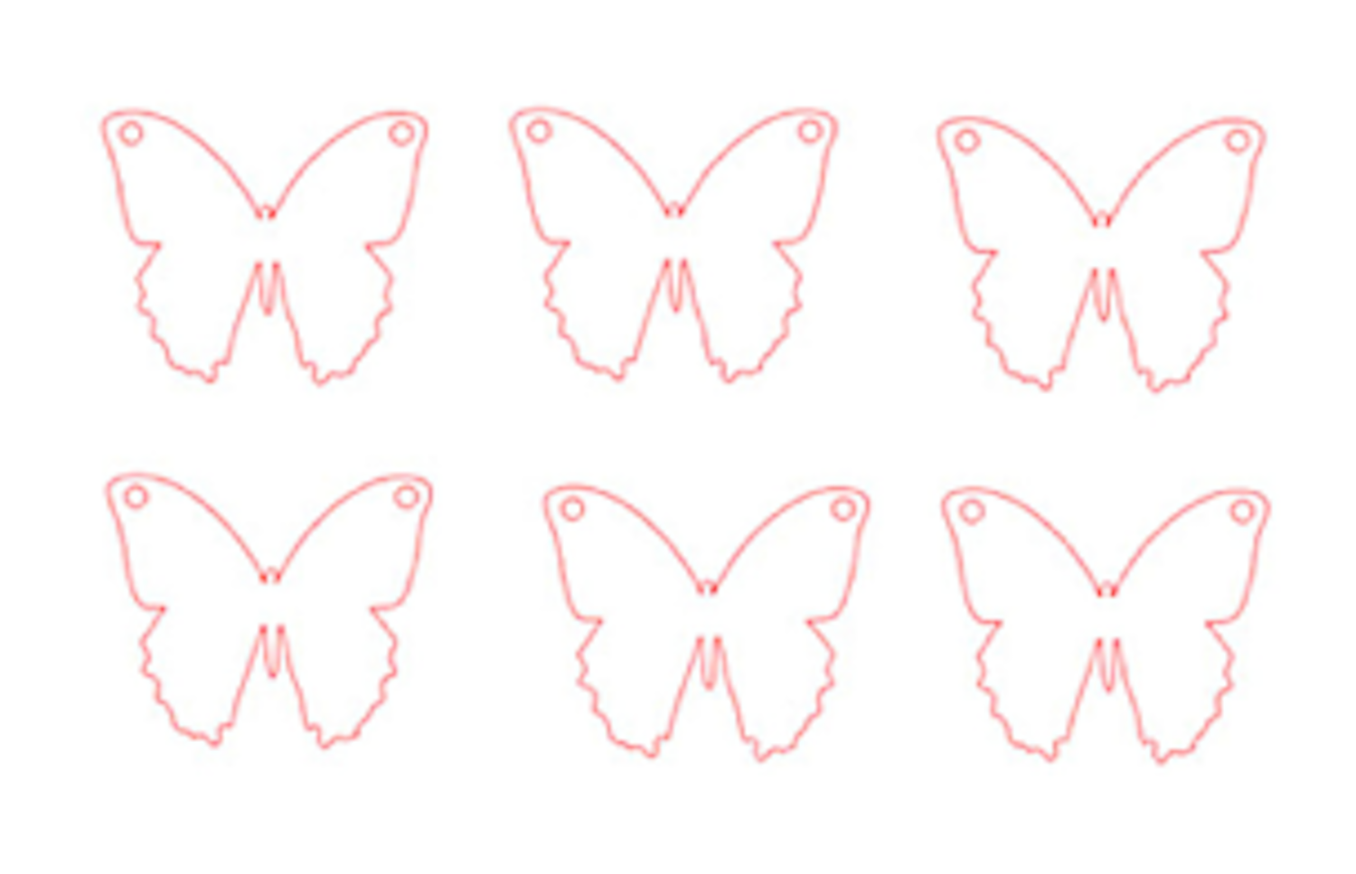 step 1 -  The Butterfly   Print the butterfly template page on card stock. Cut out the six butterflies with a craft knife or stencil cutting machine.