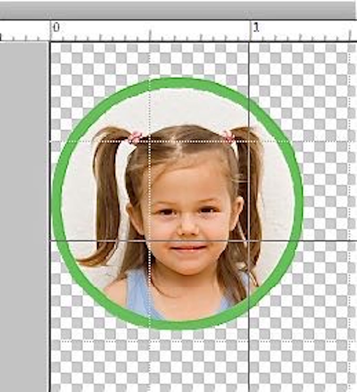 """step 13 - On your computer, bring the faces for your pillow into a photo manipulation program like Photoshop Elements. Reduce or enlarge the image to 1.25"""". Create a green round border to contain the image and add more color to the finished pillow. Reverse the image and print it onto the shiny side of the film."""