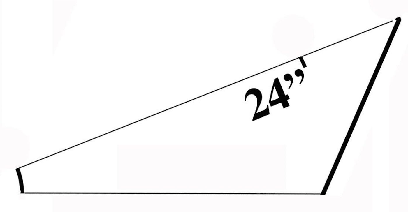 """step 5 - Using a yardstick, make a mark on the longest side of the folded pattern at 24""""."""