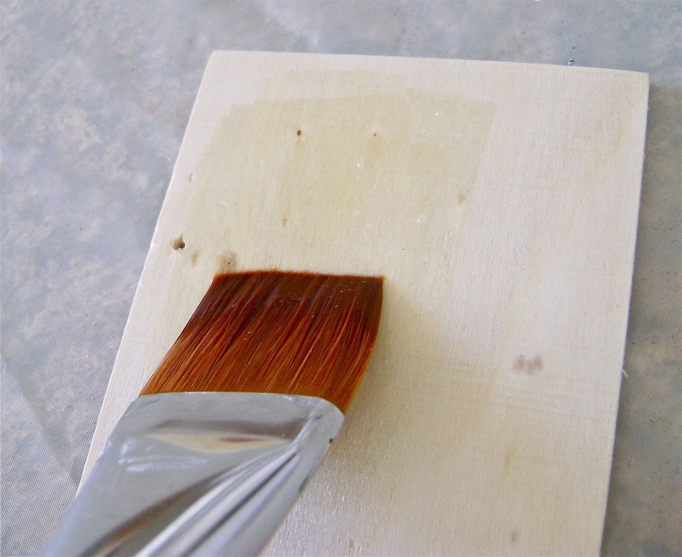 step 2 - With a brush, generously paint the glaze onto the wood piece. Let it dry thoroughly.