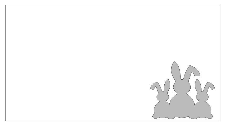 step 2 -  Hand Embossing  (You'll find Curio Embossing at the bottom of this page.) Print the the bunnies and the double border on card stock. Cut out the bunnies image and the outside border line with a craft knife.