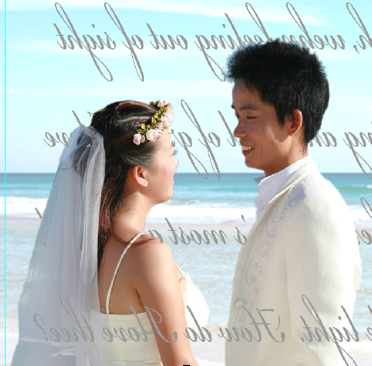 """step 2 - Arrange the type on the page so there is 1.50"""" margin on the left and right edge with no type, only the image. Reverse the type by flipping it horizontally. In the type layer, erase only the type that runs across the couple's image. The result will look like the type is behind the couple. Print two copies of the page in landscape layout on Scrap Book Attitude film."""