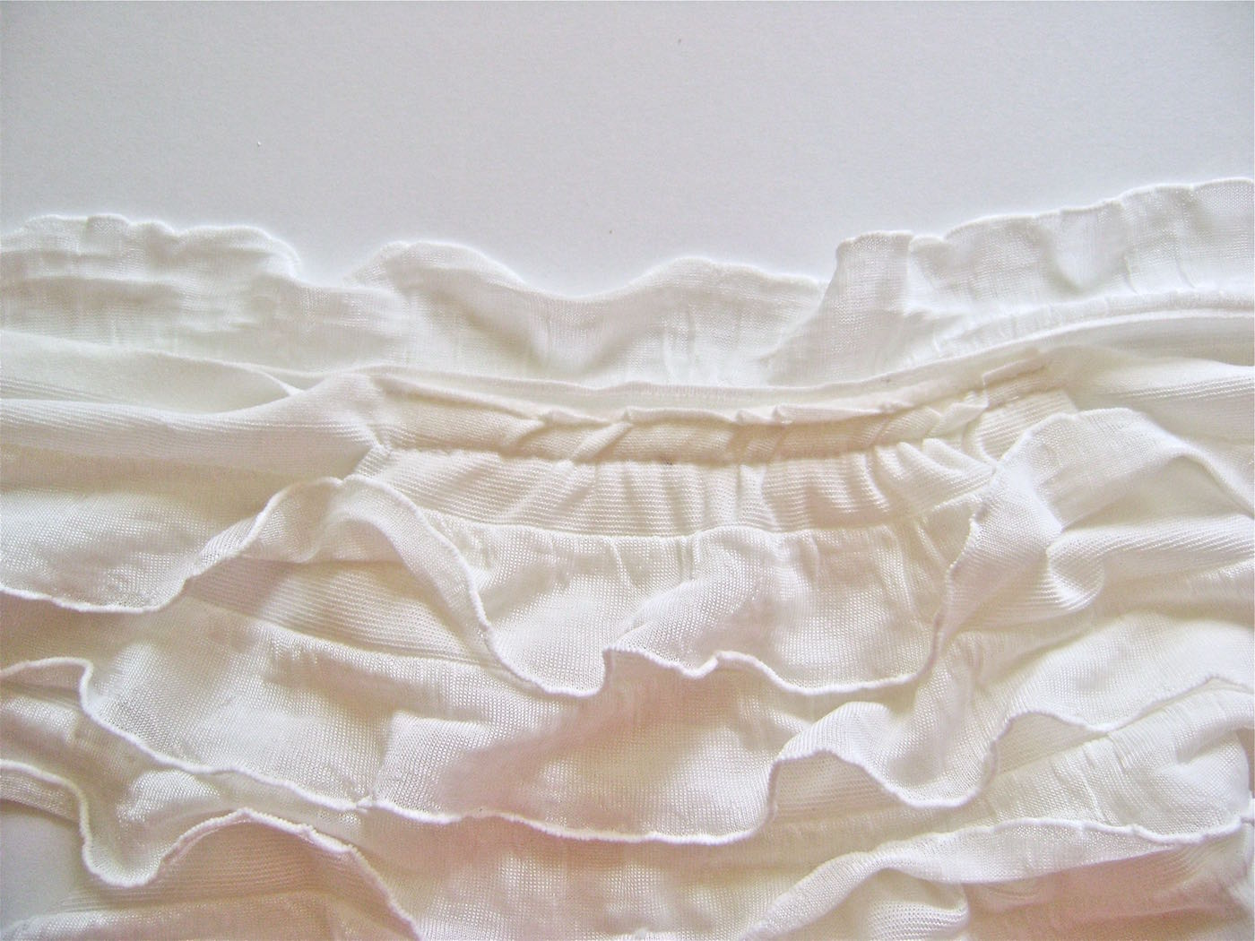 """step 7 - Cut one more strip of only one ruffle plus the margin, to measure 13"""" long. Gather it as you did the other ruffles. Attach it to the neck sewing the margin to the wrong side of the fleece. The ruffle creates a collar at the neck when flipped to the right side."""