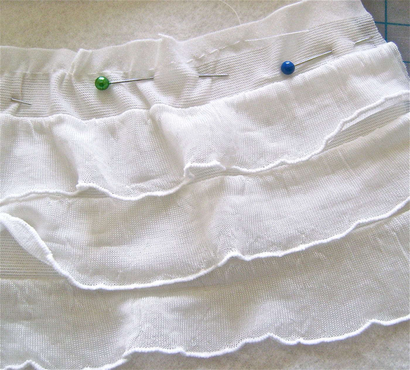 """step 3 - With a basting stitch, gather the ruffles starting at 3.25"""" in from the end and ending at 3.25"""" from the other end. The purpose of gathering the strips is to ease fabric to fit the curve of the fleece."""