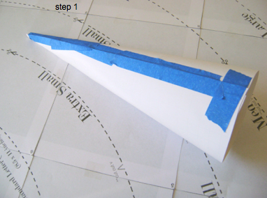 step 2 - Follow the template instructions for rolling the cone. You can secure it with painters tape because this card stock cone will be discarded later.