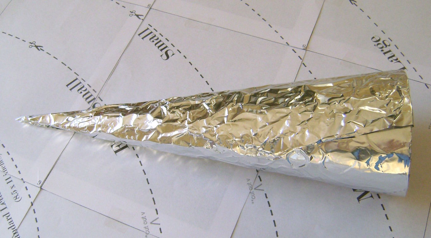 step 5 - Cover the card stock cone with heavy duty aluminum foil, make it as smooth as possible.
