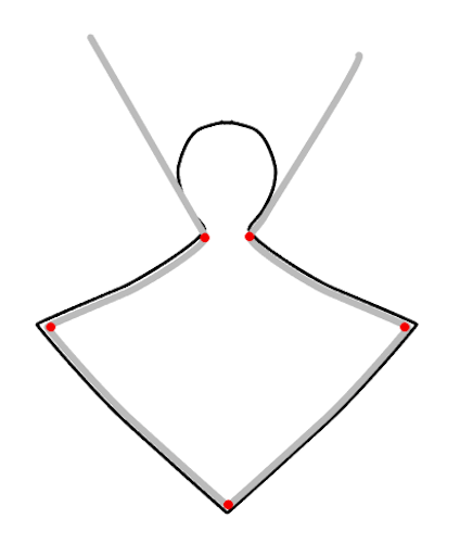 """step 2 -   Cut a piece of 18 gauge wire to measure 5"""". Place the center of the wire on the center bottom of the template. Use a Sharpie to mark placement for the left and right angles on the wire as well as the top center angles.   Bend the wire at the marks to create the frame. With your fingers, create curves in the wires to match the template."""