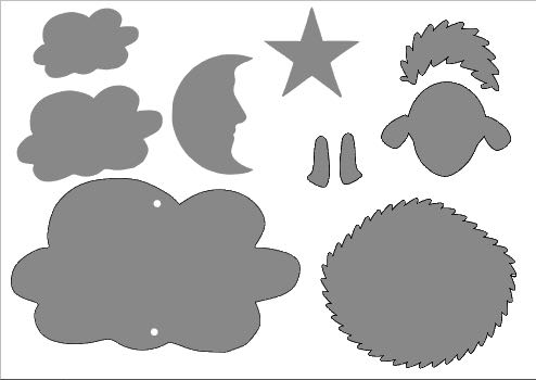 step 1 -  CK  - Download and print the template onto card stock.  SC  - Download the dedicated Silhouette pdf for the cut files.  You will need three of each of the following for this project:  sheep body from textured clay, large medium and small clouds, moon, star, smooth head cover, face, and pairs of legs.