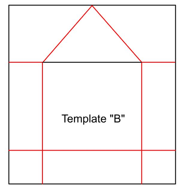 """step 3 - Use Template """"B"""" to cut out decorative paper. I searched on Google for texture images to cover my birdhouses then printed them out. You can also use wrapping paper, specialty scrapbooking paper or simply paint the cardboard. Glue the paper onto the center front of the cardboard with Elmer's, and fold the paper on the red lines."""