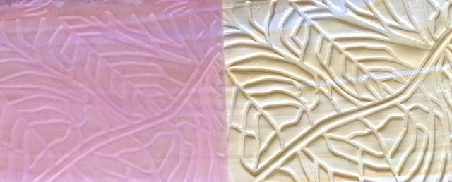"""step 6 - Press a leaf pattern texture sheet onto the clay. The impressed clay needs to measure 7"""" x 1.50""""."""