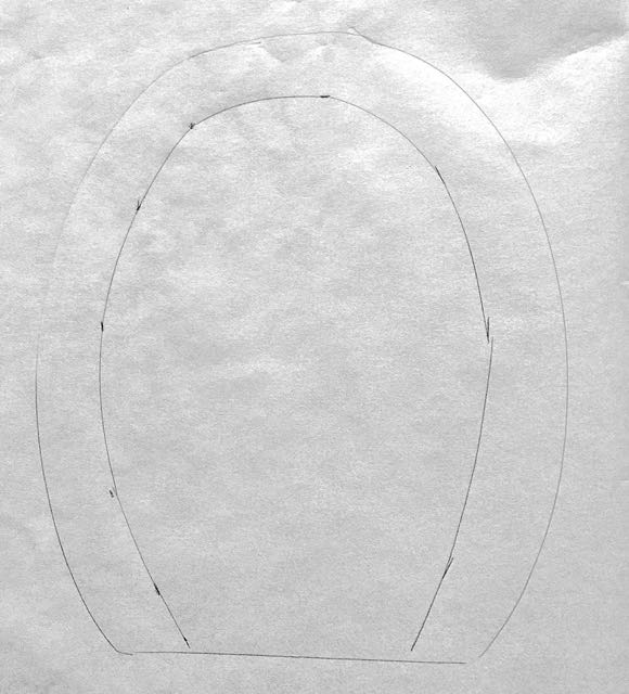 """step 2 - Trace again inside the line about 5/8"""". Cut out the shape and set it aside. The size may need a slight adjustment later."""