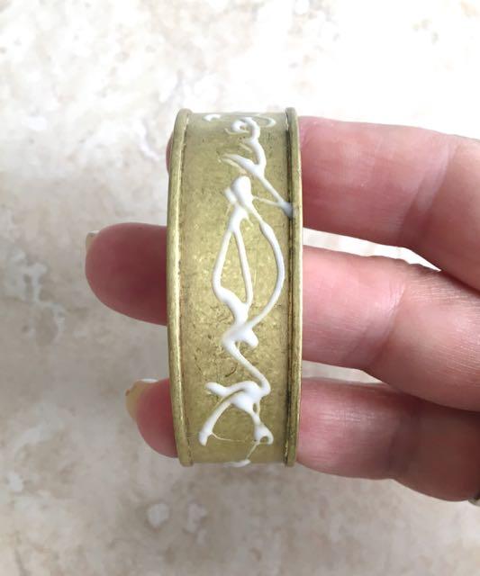 step 2 - Apply Bake & Bond to the metal bracelet blank.