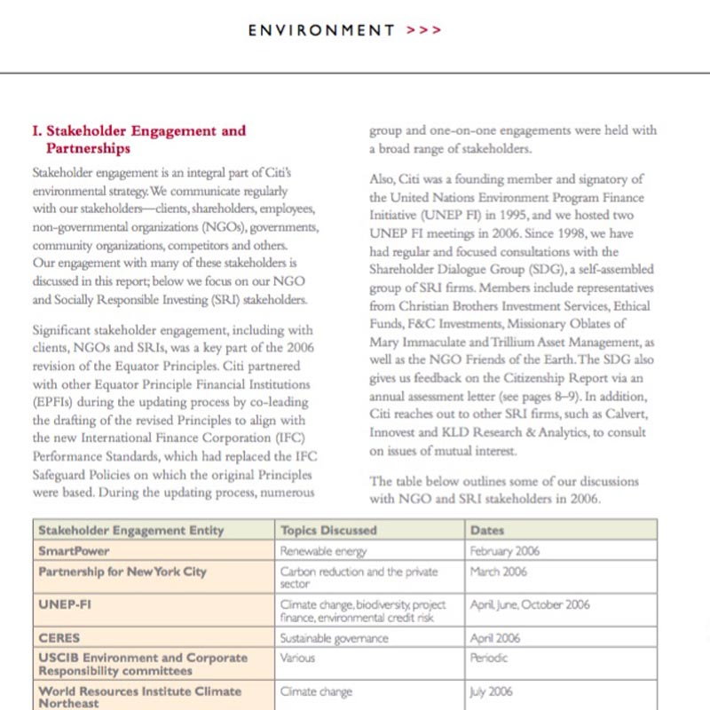 Citigroup Sustainability Report: Stakeholder engagement and partnerships.