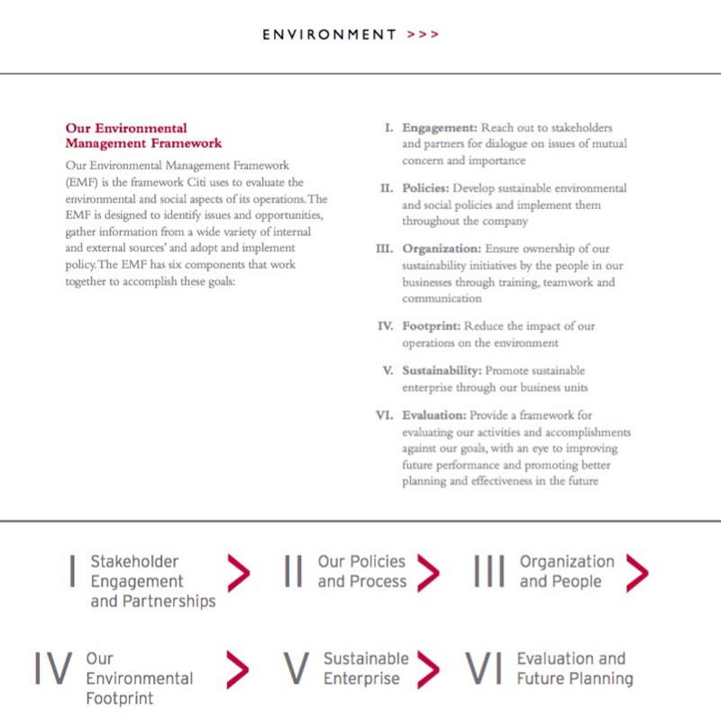 Citigroup Sustainability Report: Environnmental Management Framework.
