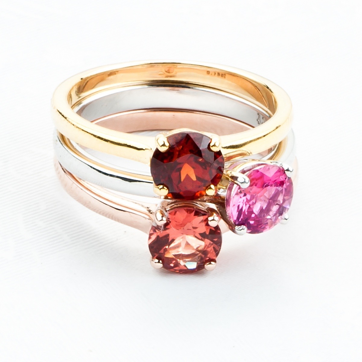Gold Spinel and Garnet Rings