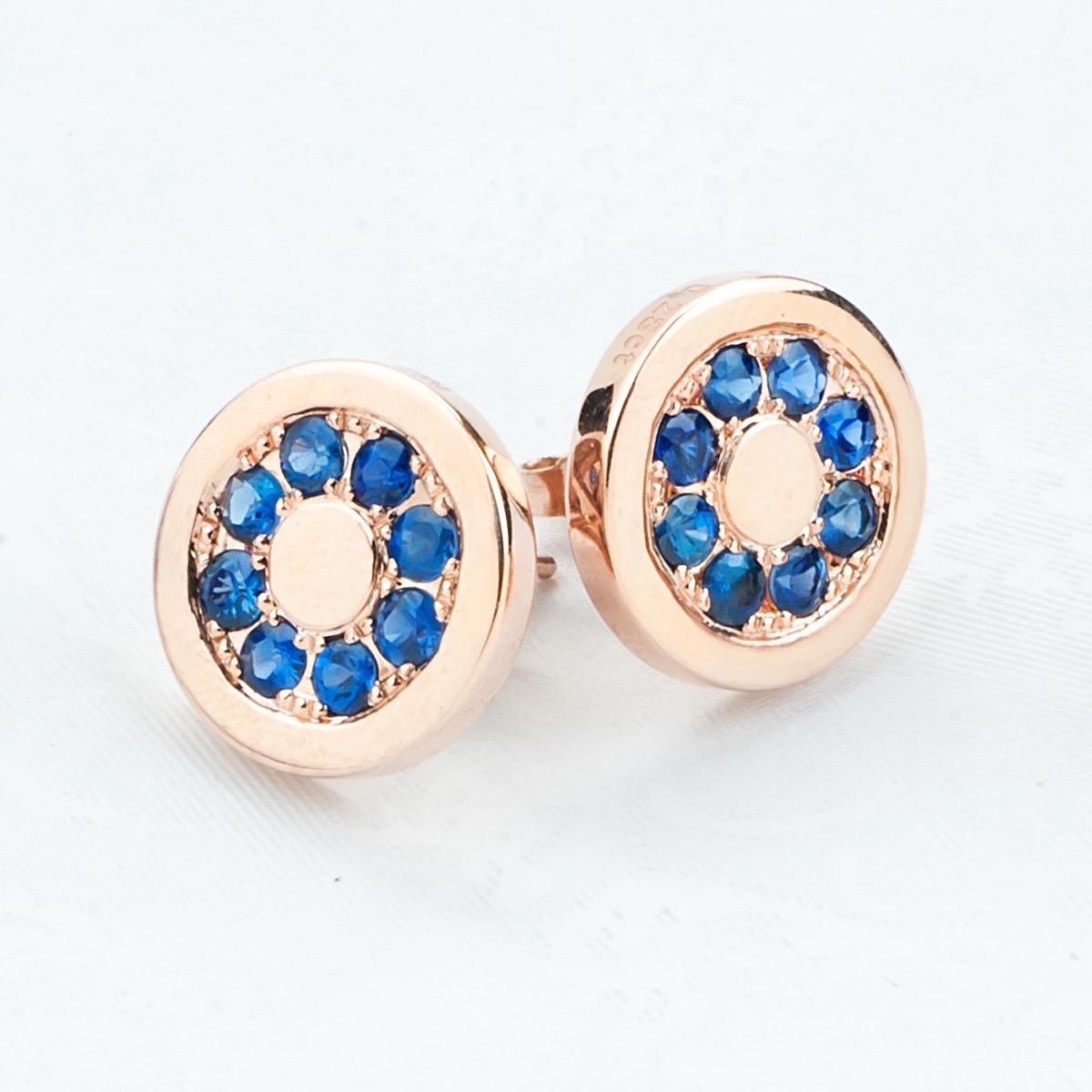 Gold Blue Sapphire Earrings
