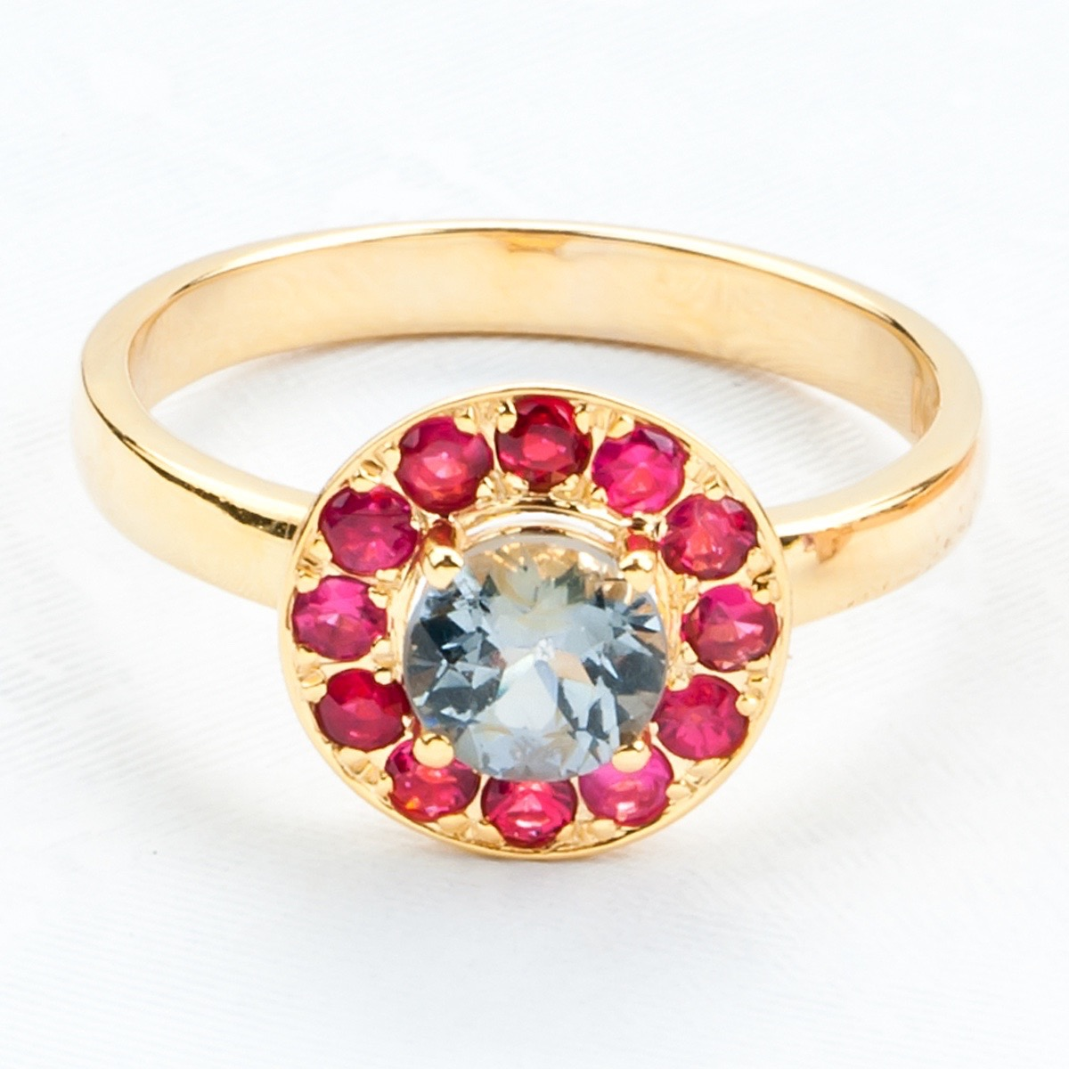 Gold Spinel Halo Ring