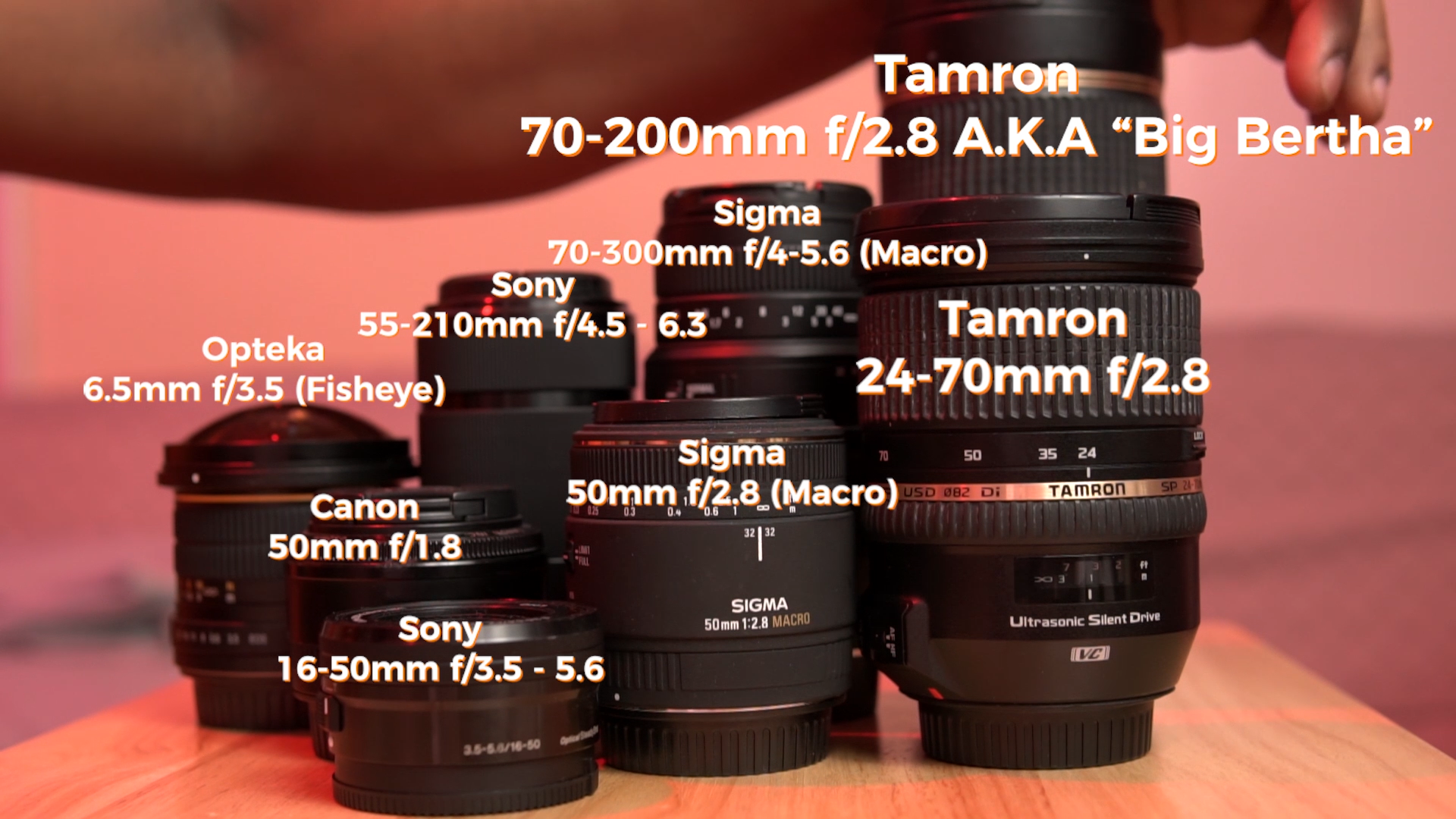 All About Lenses - This module is all about lenses and it's broken up into 3 different videos.First I'll give you a general overview of the different types of lenses and what they are used for.Then we'll go outside on location and put each focal length into practice. Afterwards we'll compare them side by side so that you can see the pros and cons of each type of focal length.Lastly, i'll give a more thorough demonstration of Variable Aperture lenses and how they work compared to Fixed Aperture lenses.