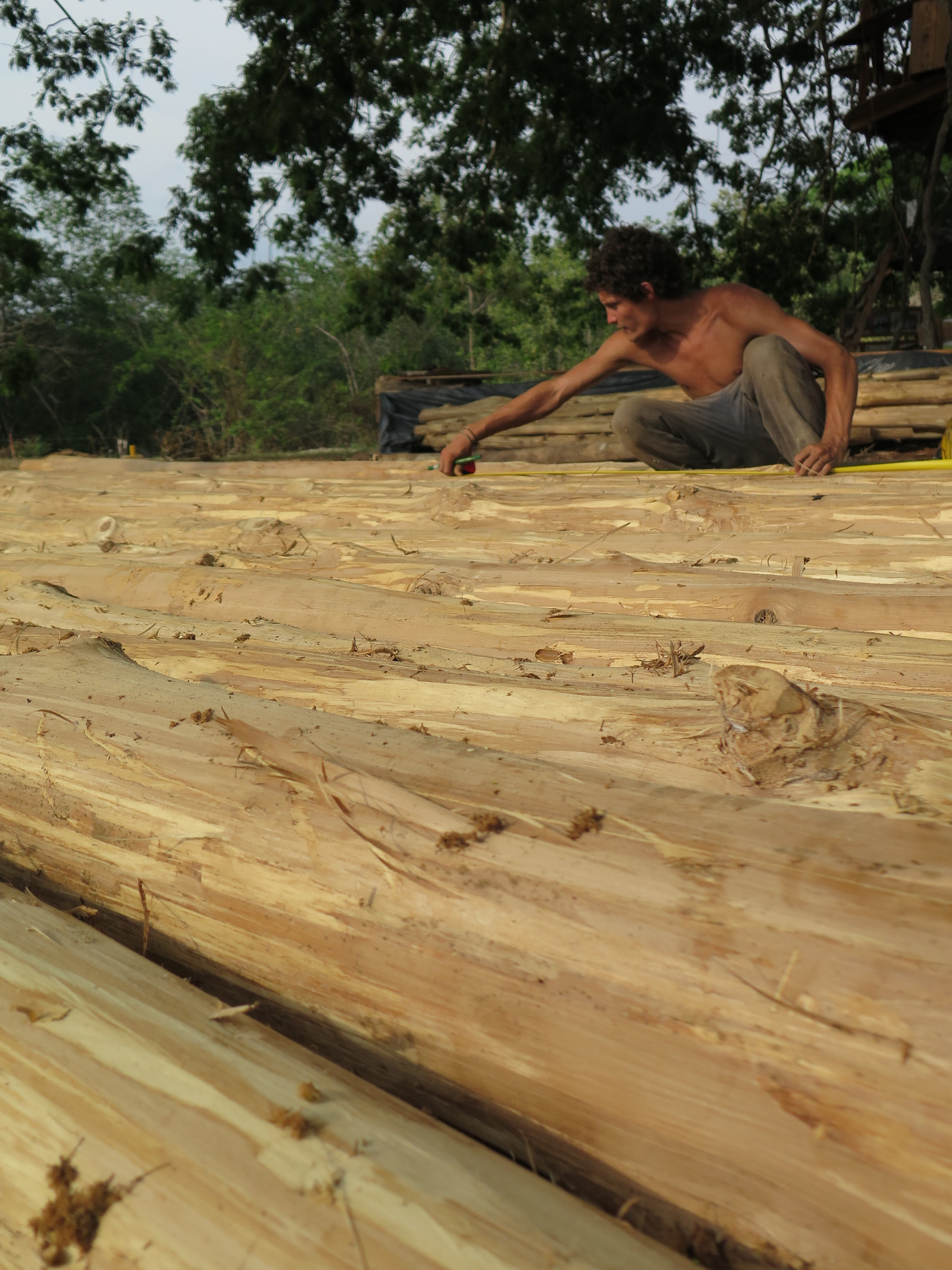 Mate measures locally sourced teak, which have become the structural posts for the shipbuilding hangar here at the shipyard.