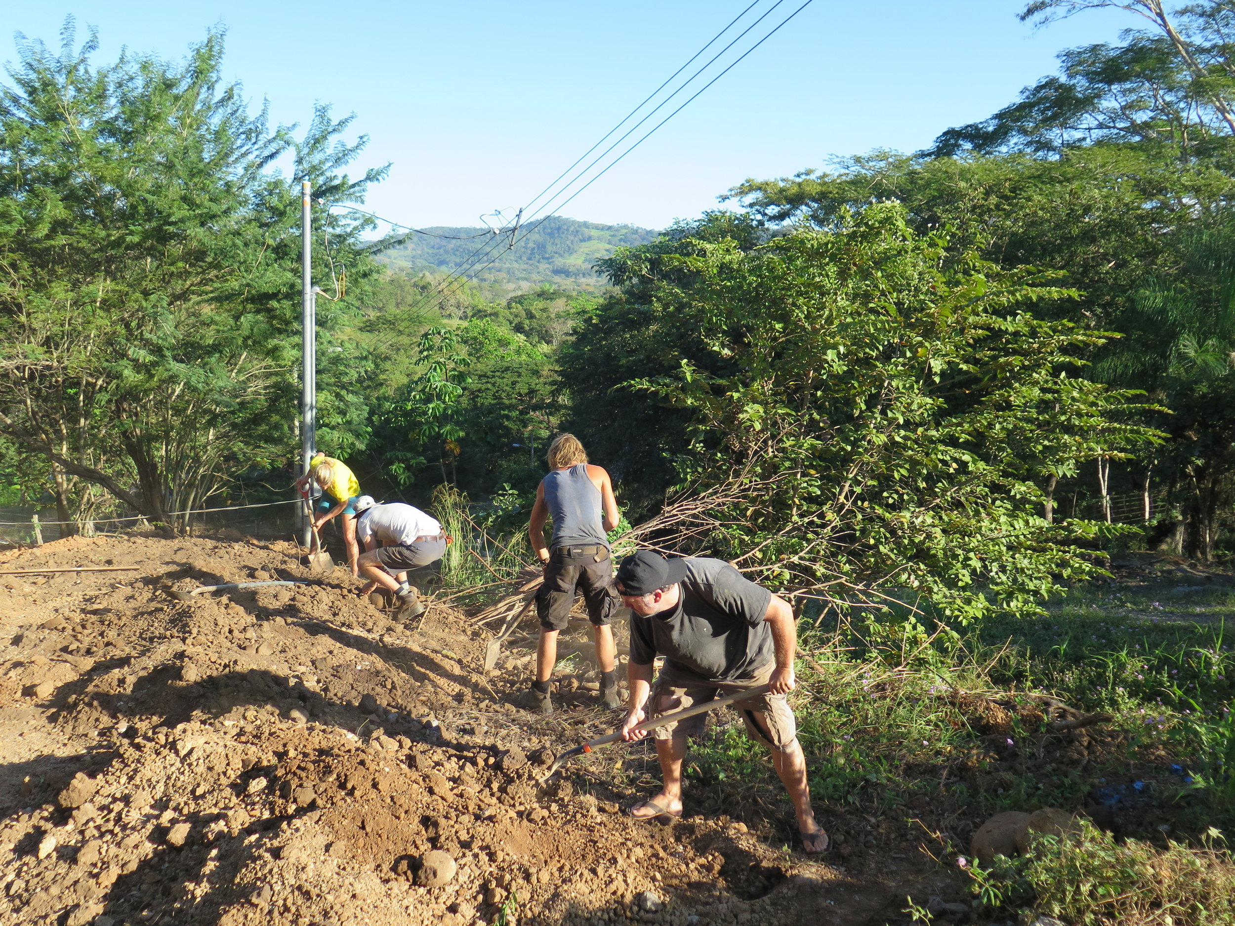 The view from Pancho's house as the team begin the levelling process.