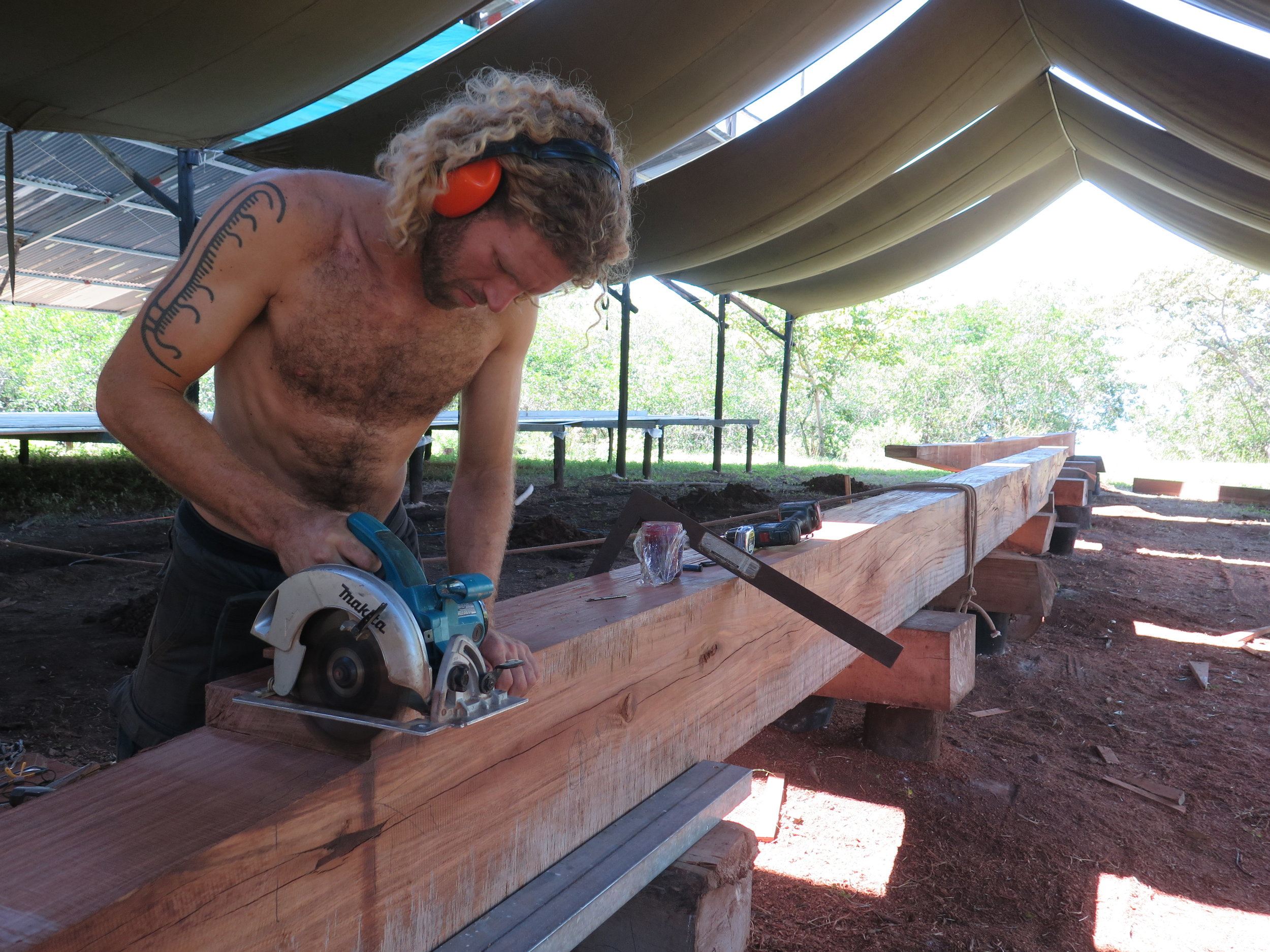 Silas cutting the scarfs of the keel.