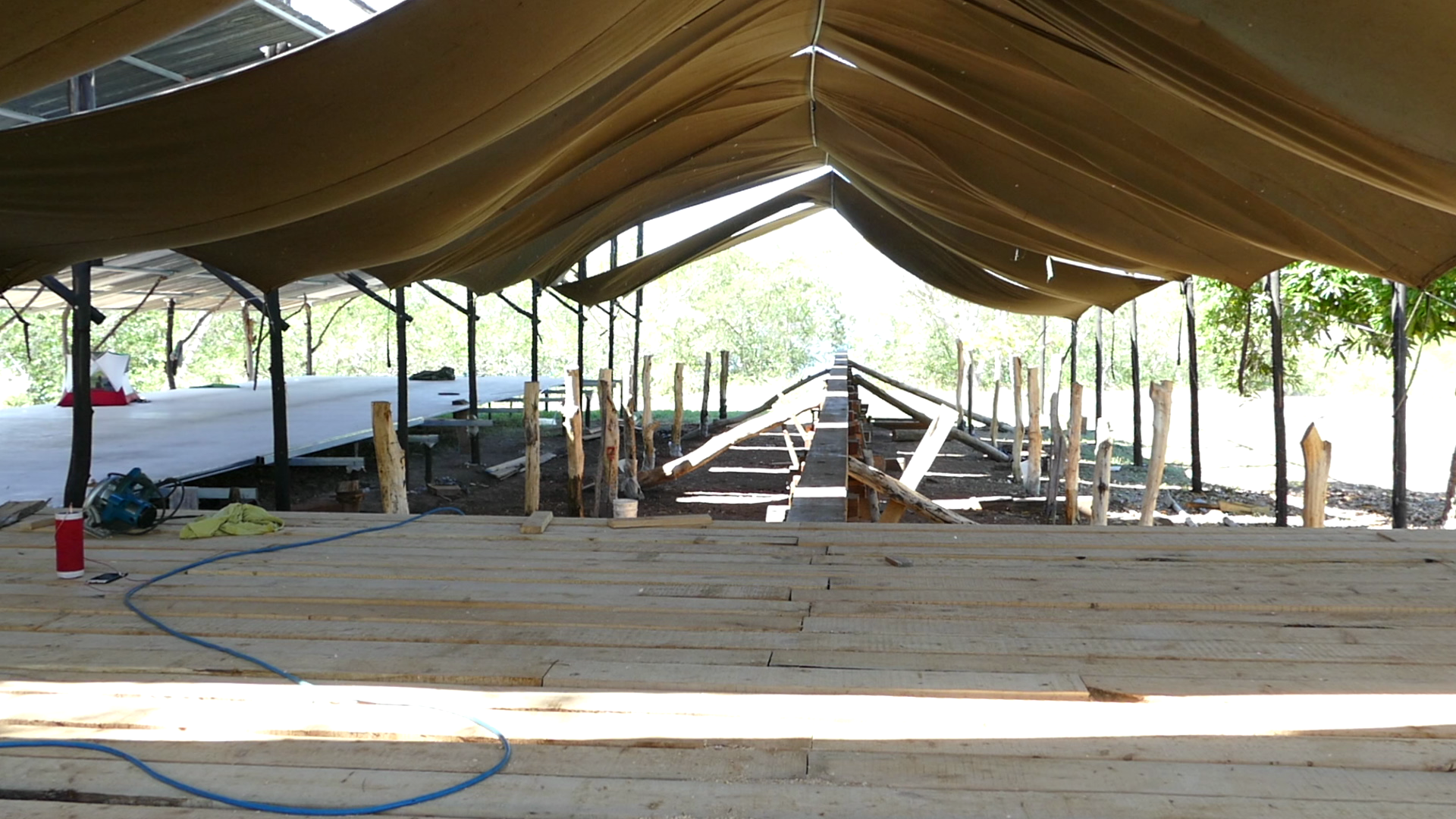 The end result - cypress has cross-beam planks for the framing stage of  Ceiba . Photo: Finn Richardson