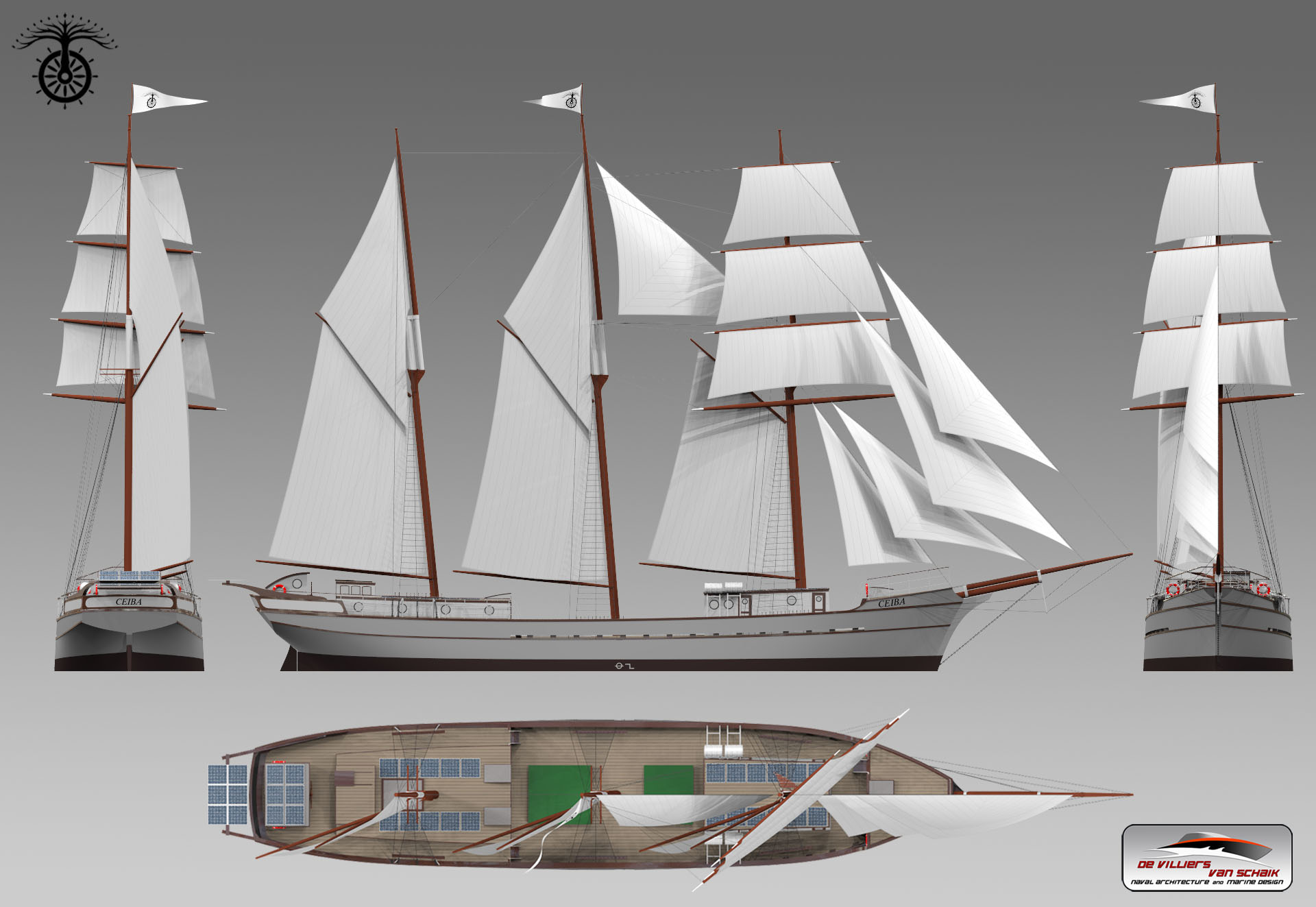3D renderings of  Ceiba , by Pepijn van Schaik from DVS Marine Design.