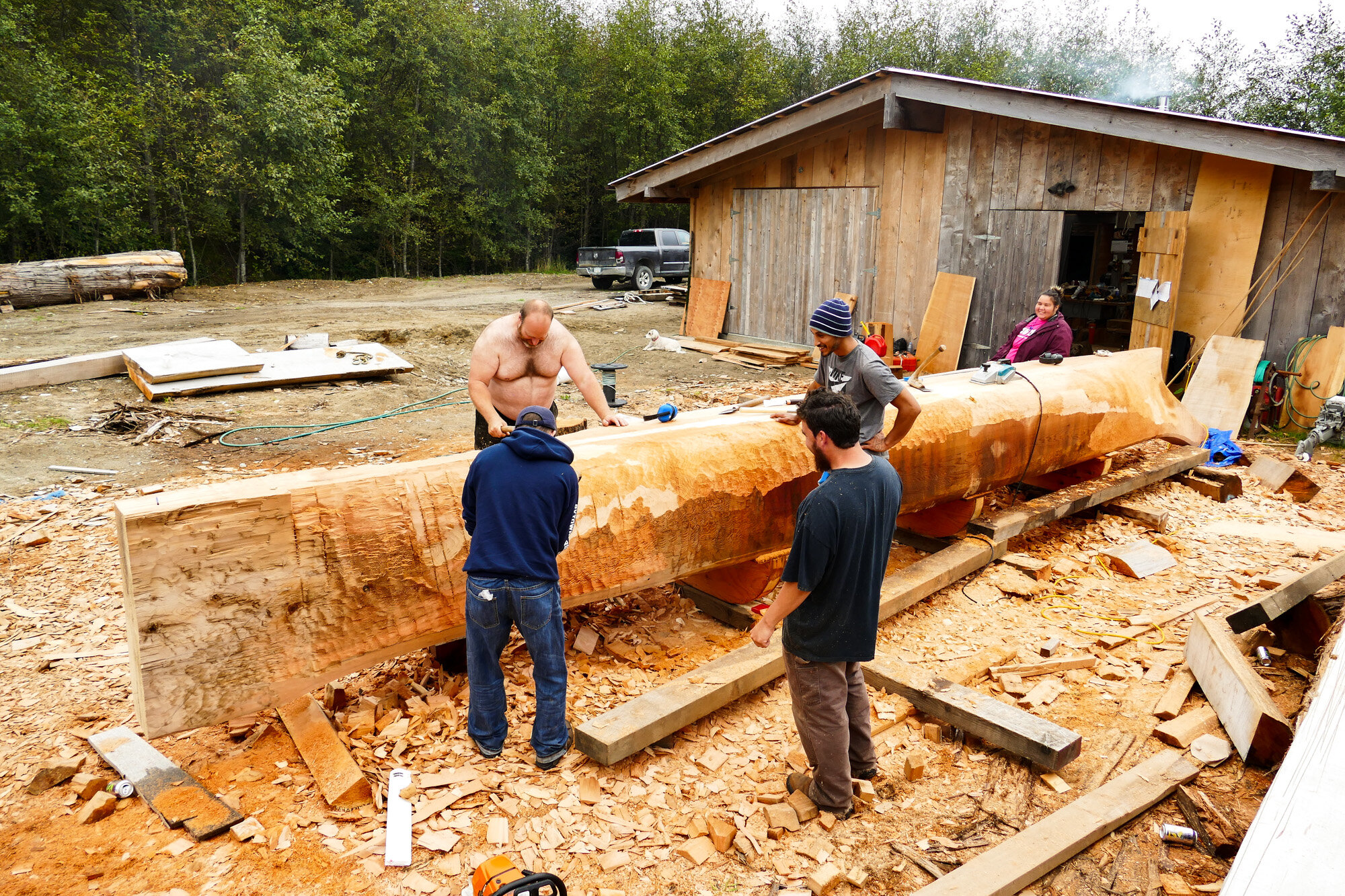 A look at the team working on the canoe, of Red Cedar, near Gaaw Kaahlii (Masset Inlet).
