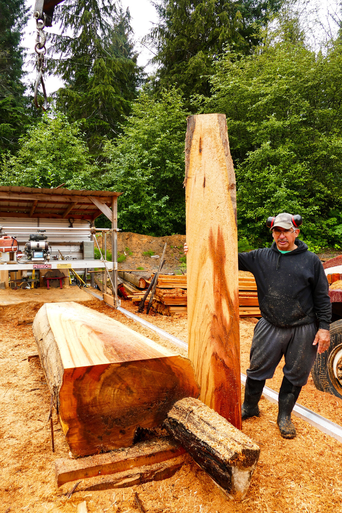 Art displays a board of Western Red Cedar  that he cut on his Peterson Sawmill, which is shown in the background.
