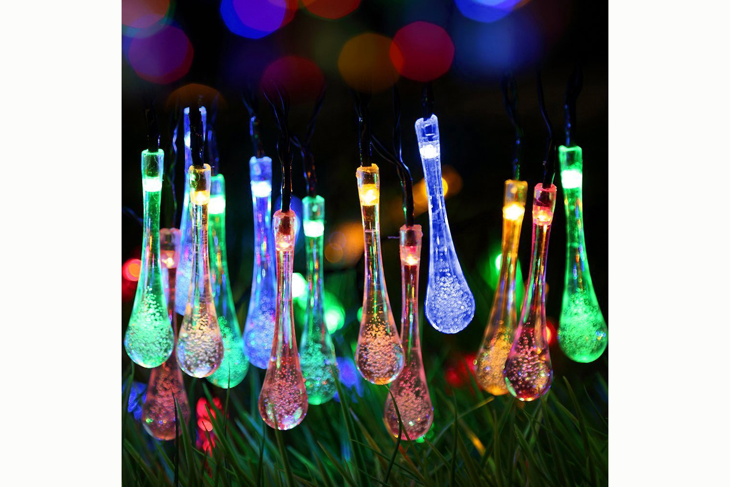 Solar Charged, Water Drop Fairy Lights, 20 Ft, 30 LEDs - 4.5 stars - $14 (Prime)