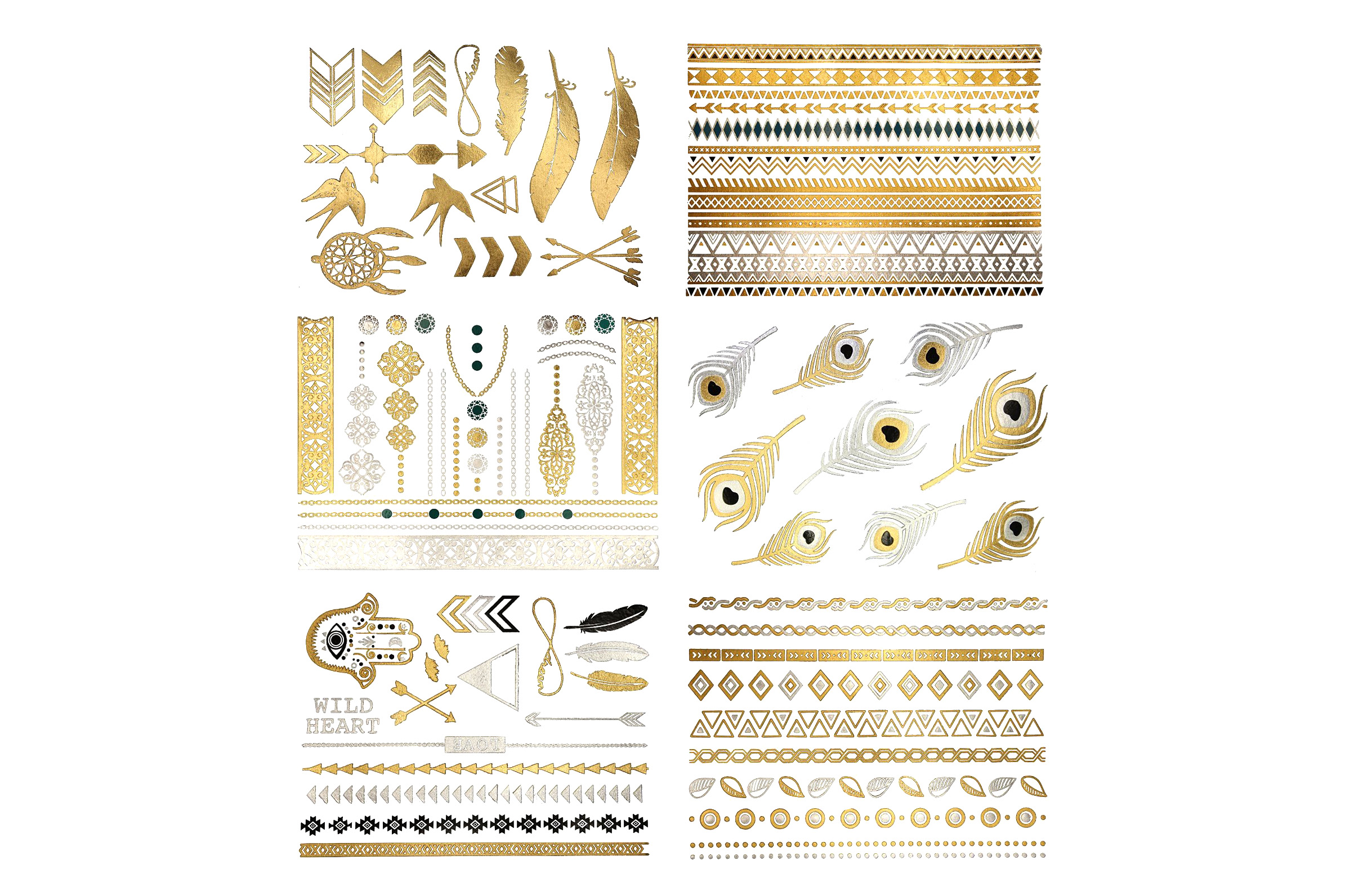 Gold / Silver Flash Tattoos - 4.5 stars - $10 (Prime)