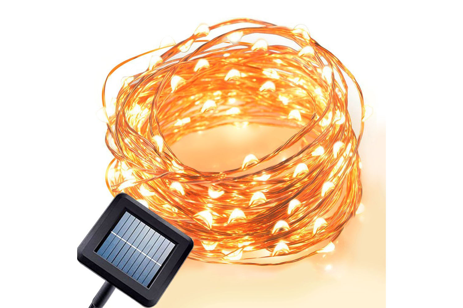 Solar Powered 100 LEDs, 33 Ft - 4.5 stars - $13 (Prime)