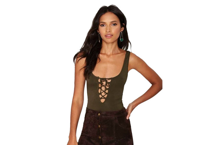 Stretch Lace up Tank Leotard Bodysuit - Free Returns - 4 stars - $11 (Prime)