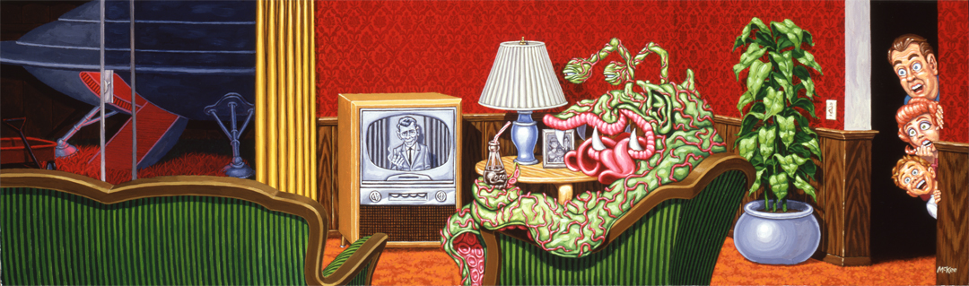 Alien Watching the Twilight Zone / acrylic on illustration board / 1998 / sold