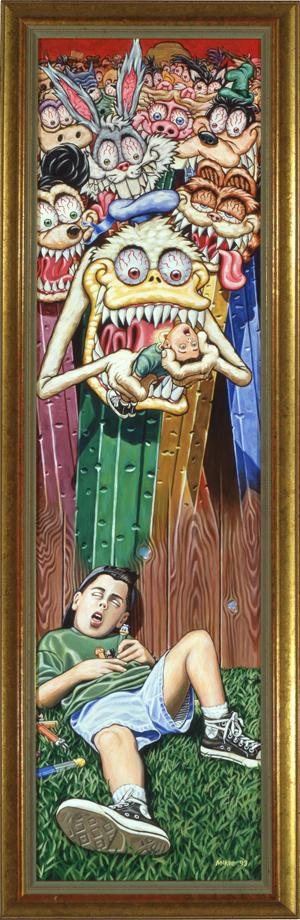 Pez Nightmare / acrylic on illustration board / 1993 / sold