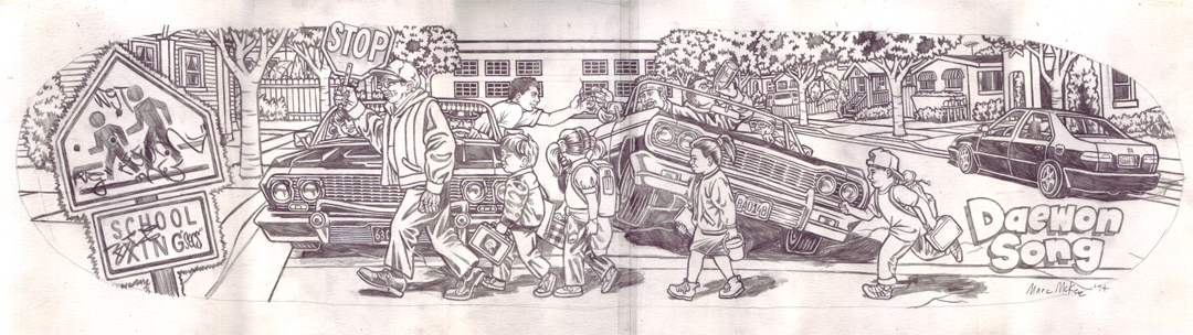 Lowriders / pencil on paper / 1994 / sold