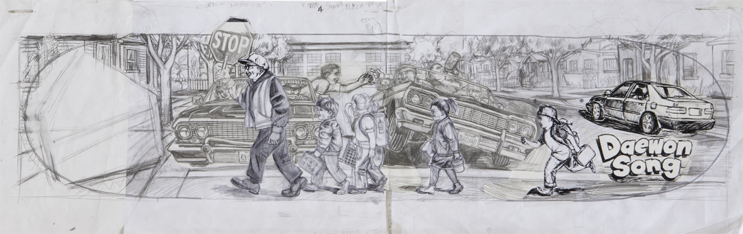 Lowriders / pencil and photocopy prints on paper / 1994 / sold