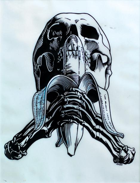 Skull and Banana / ink and white correction fluid on Dura-Lene / 1991 / sold