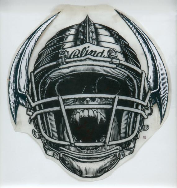 Jock Skull / ink and photocopy printout on Dura-Lene / 1991 / sold