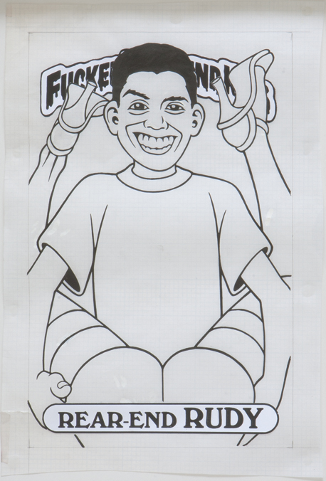 Rear-End Rudy / ink and printouts on paper / 1992