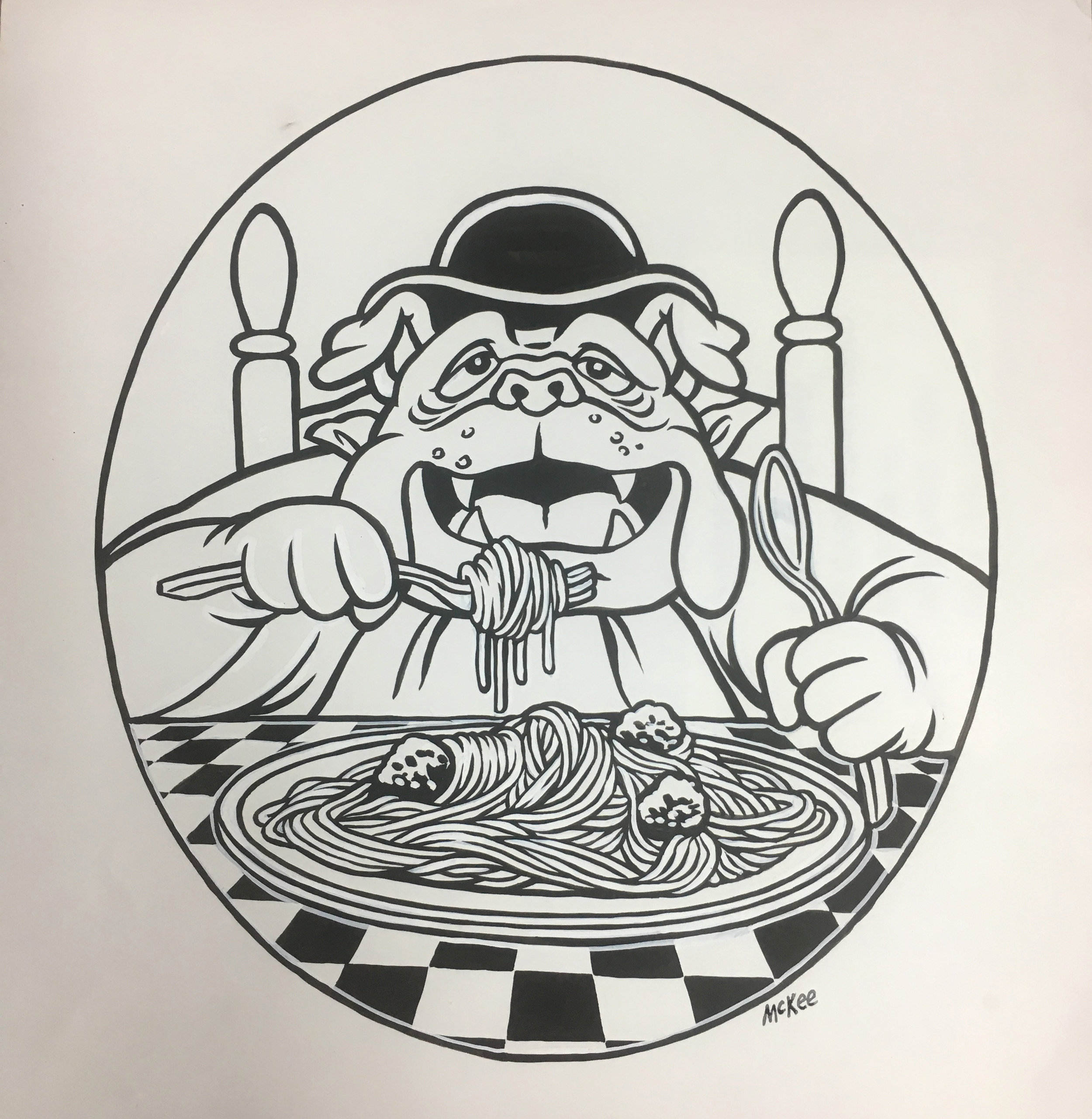 bulldog eating spaghetti / ink and goauche on paper / 1996
