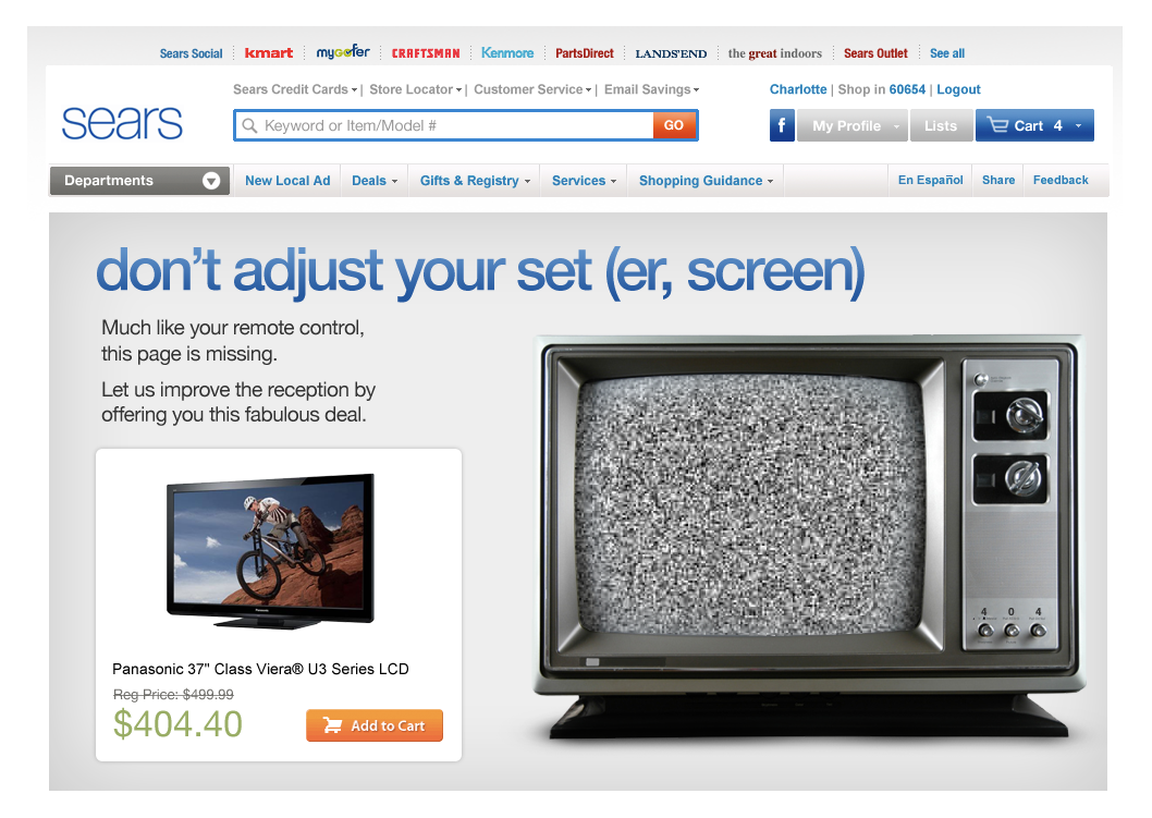 Proposed 404 Page - Televisions