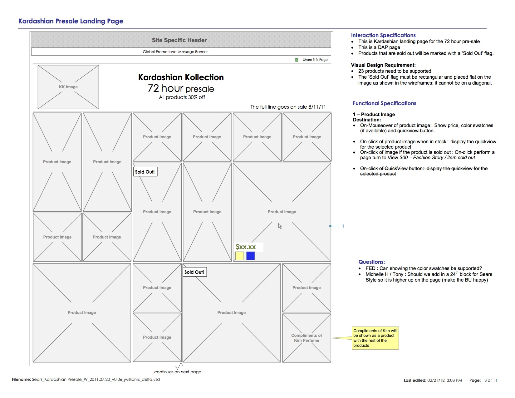 Kardashian Kollection Presale Landing Page Wireframe