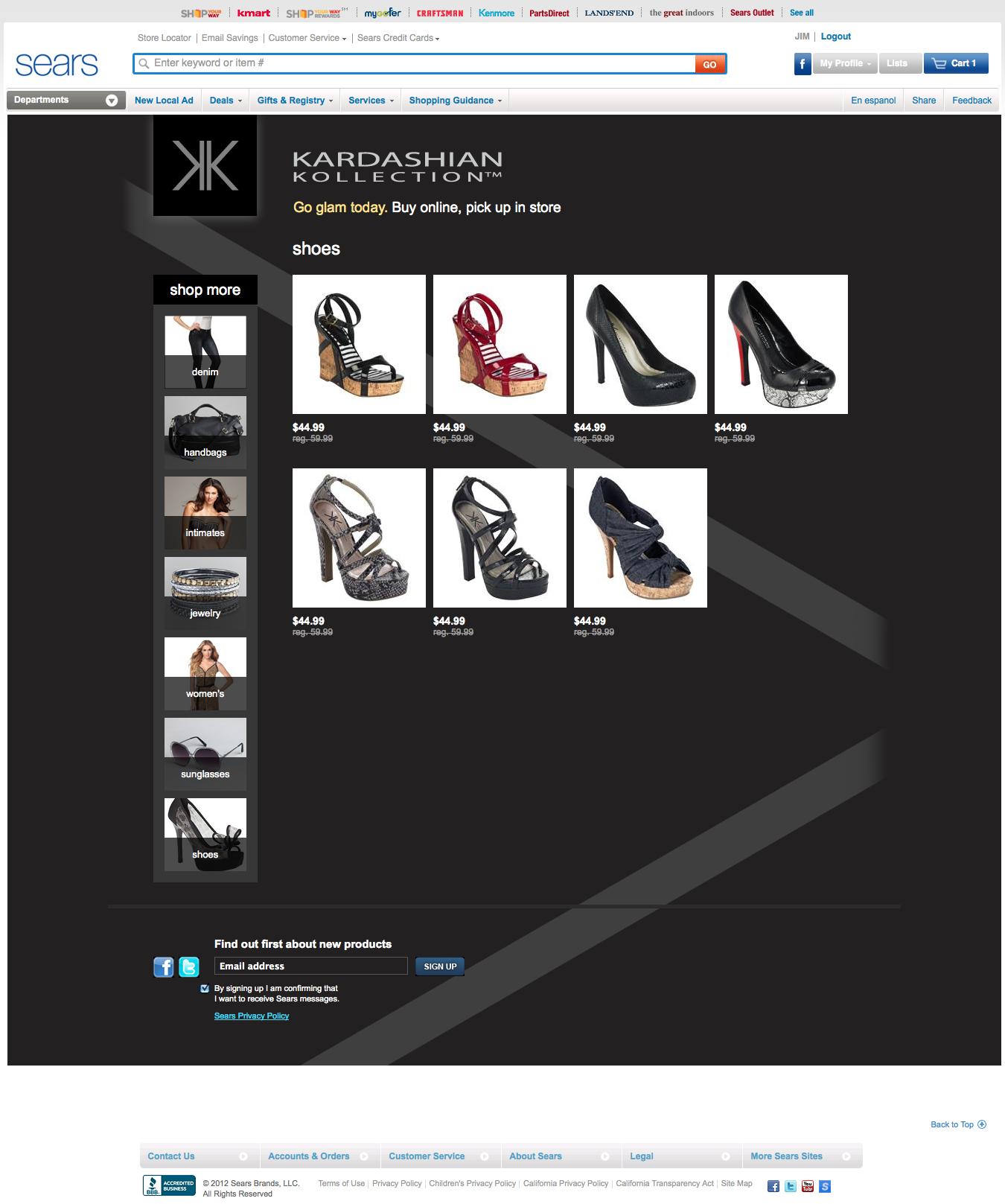 Kardashian Kollection Department Page